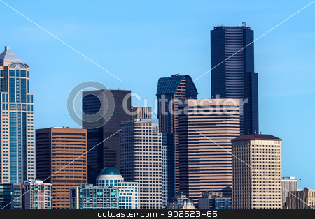 Seattle Towers Cityscape Buildings Washington stock photo, Seattle Towers Cityscape Buildings Skyline Washington  by William Perry
