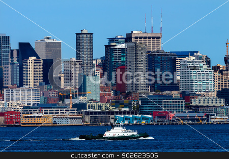 Seattle Skyline Tugboat Puget Sound Washington State stock photo, Seattle Skyline Tugboat Puget Sound Washington State Pacific Northwest by William Perry