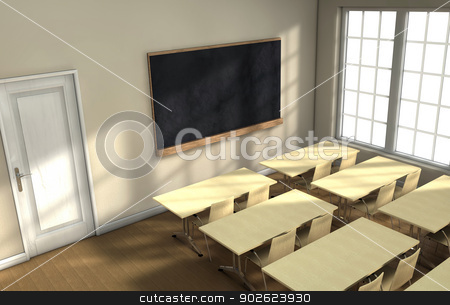 Classroom desks  stock photo, Blackboard and school desks background by Pedro Campos