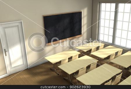 Classroom desks  stock photo, Blackboard and school desks background by Pedro Campos