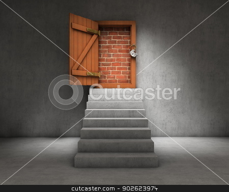 Blocked door stock photo, Stairs leading to a door blocked by brick wall by Pedro Campos