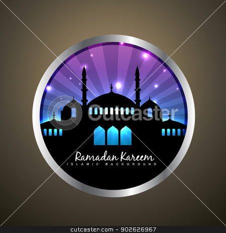 ramadan kareem label stock vector clipart, vector ramadan kareem label design by pinnacleanimates