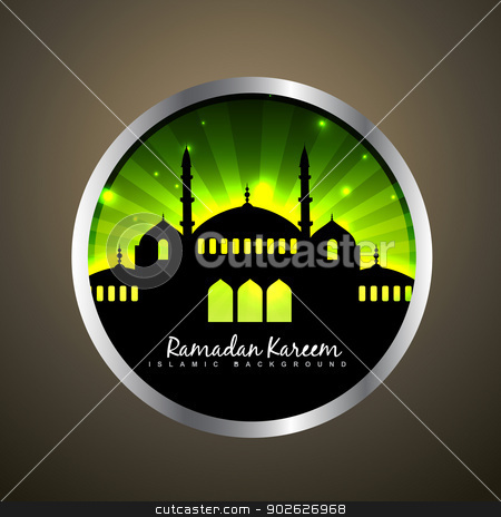 vector islamic label stock vector clipart, vector beautiful ramadan design label by pinnacleanimates