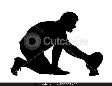 Rugby Goal Kicker Placing Ball stock vector clipart, Sport Silhouette - Rugby Goal Kicker Placing Ball by Snap2Art