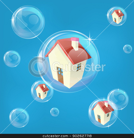 Housing bubble concept stock vector clipart, Business or economics concept illustration representing a bubble in the housing or real estate market by Christos Georghiou
