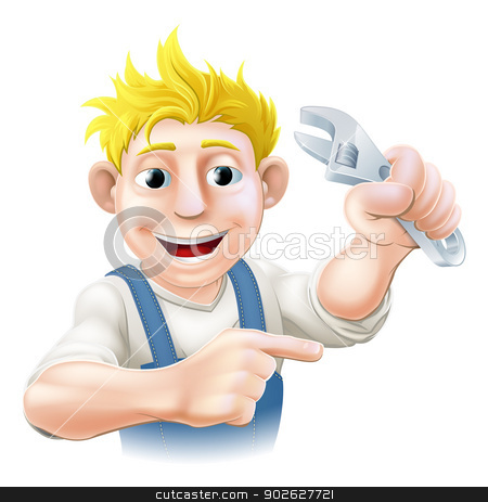 Cartoon plumber or mechanic pointing stock vector clipart, A plumber, mechanic or engineer in overalls pointing and holding an adjustable spanner or wrench  by Christos Georghiou