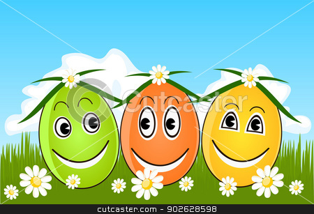 Happy Easter eggs on grass stock photo, Happy Easter eggs on grass by Jupe