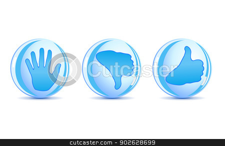 Set of round hand symbols or icons stock photo, Set of round hand symbols or icons by Jupe