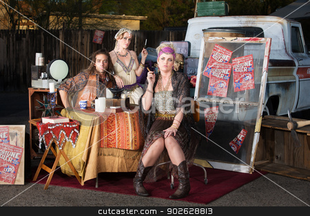 Gypsy Travellers Outside stock photo, Gypsy travellers with truck and table outside by Scott Griessel