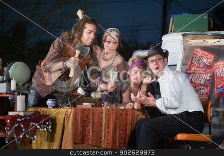 Scared Man with Fortune Tellers stock photo, Scared fortune teller customer threatened with weapons by Scott Griessel