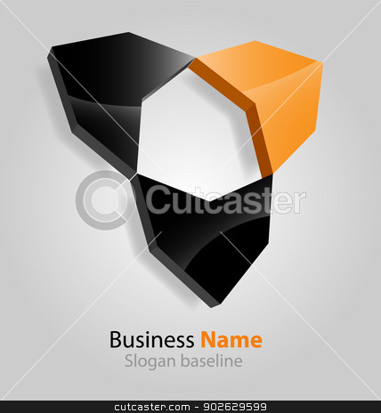 Abstract glossy 3D logo stock vector clipart, Originally designed abstract glossy 3D logo by Maria Repkova