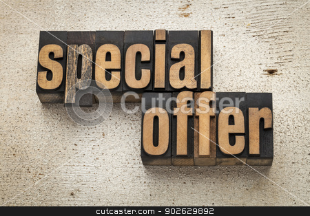 special offer sign in wood type stock photo, special offer sign in vintage letterpress wood type on a grunge painted barn wood background by Marek Uliasz