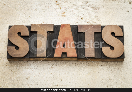 stats (statistics) word in wood type stock photo, stats (statistics) word in vintage letterpress wood type on a grunge painted barn wood background by Marek Uliasz