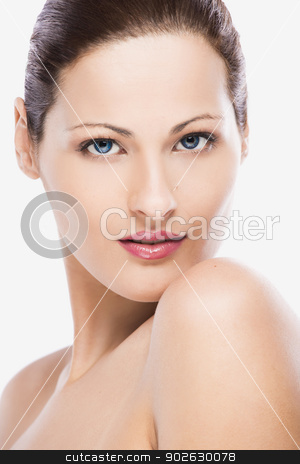 Beautiful face stock photo, Beauty portrait of a young blonde woman, isolated on white background by ikostudio