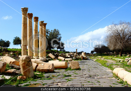 Umm Qais City stock photo, Umm Qais, Gadara City north-west of Jordan  by Designsstock