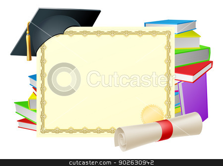 Education background stock vector clipart, Certificate with copy-space and scroll diploma, books and mortar board graduation cap by Christos Georghiou