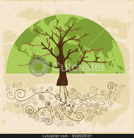 Tree world concept stock vector clipart, Tree globe map concept with curly roots . Vector file layered for easy manipulation and custom coloring. by Cienpies Design