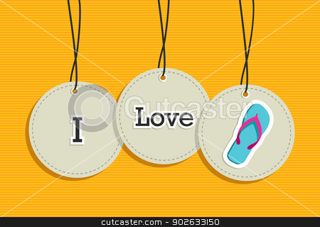 Hanging i love summer sign icons set stock vector clipart, i love summer hanging labels symbols. Vector file layered for easy manipulation and custom coloring. by Cienpies Design