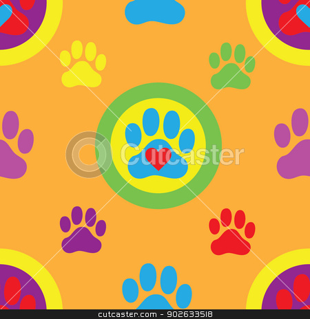 Pawprint Seamless Pattern stock vector clipart, A seamless swatch of a colorful pawprint and heart pattern by Maria Bell