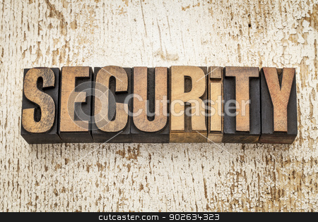 security word in wood type stock photo, security word in vintage letterpress wood type on a grunge painted barn wood background by Marek Uliasz
