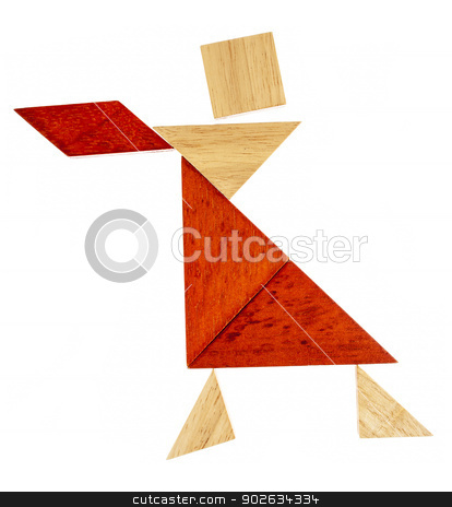 tangram dancer or waitress stock photo, abstract figure of a female dancer or waitress built from seven tangram wooden pieces, a traditional Chinese puzzle game by Marek Uliasz