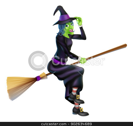 Halloween Witch stock vector clipart, Illustration of a happy cartoon Halloween witch flying on her broomstick and tipping her hat by Christos Georghiou