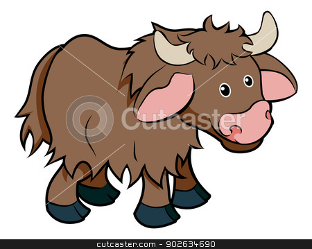Cartoon Yak animal character stock vector clipart, An illustration of a cute happy cartoon hairy Yak animal character by Christos Georghiou