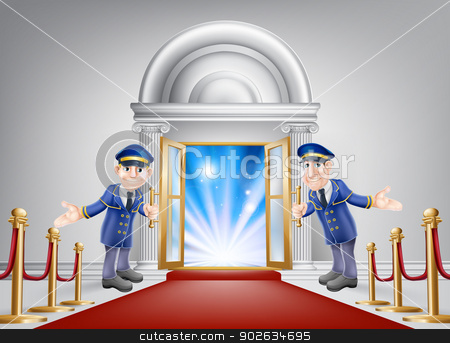 First class treatment stock vector clipart, First class treatment conceptual illustration. A venue entrance with a red carpet and red velvet rope and two friendly doormen in uniform welcoming in a VIP guest. by Christos Georghiou