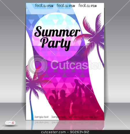 Summer Beach Party Flyer Design stock vector clipart, Summer Beach Party Flyer Design by evilben13
