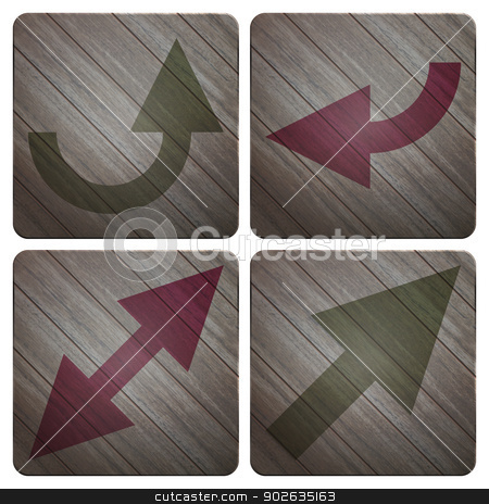 wood arrows stock vector clipart, new collection of wooden buttons with arrows can use like modern symbols by metrue