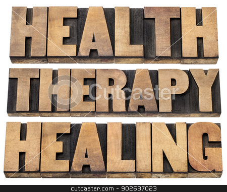 health, therapy and healing words stock photo, health, therapy and healing words - a collage of  isolated text in vintage letterpress wood type printing blocks by Marek Uliasz