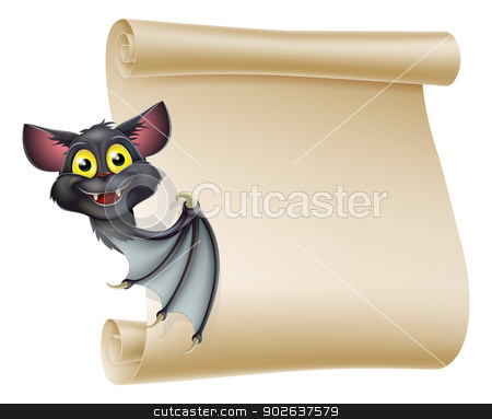 Halloween Bat Scroll stock vector clipart, An illustration of a cute cartoon Halloween vampire bat peeping round a scroll sign and showing what is written on it. by Christos Georghiou