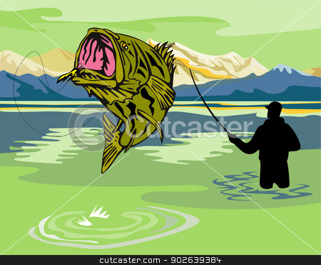largemouth bass jumping reeled stock vector clipart, illustration of a largemouth bass jumping reeled by fly fisherman fishing done in retro style by patrimonio