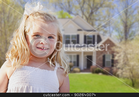 Cute Smiling Girl Playing in Front Yard stock photo, Cute Smiling Girl Playing in Front Yard of House. by Andy Dean