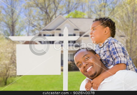 Father and Son In Front of Blank Real Estate Sign and House stock photo, Happy African American Father and Mixed Race Son In Front of Blank Real Estate Sign and New House. by Andy Dean