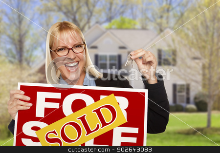 Woman with Sold Sign and Keys in Front of House stock photo, Happy Young Woman with Sold For Sale Real Estate Sign and Keys in Front of House. by Andy Dean