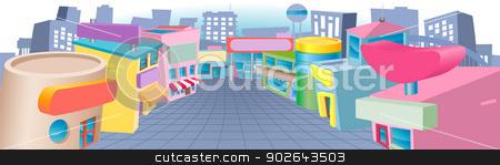 Cartoon street of shops stock vector clipart, A colourful cartoon street of shops with blank signs  by Christos Georghiou