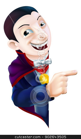 Cartoon Dracula Vampire Pointing stock vector clipart, An illustration of a cute cartoon Count Dracula vampire character for Halloween pointing at a sign or banner by Christos Georghiou