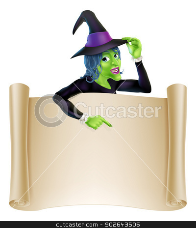 Halloween Witch Scroll stock vector clipart, An illustration of a cartoon witch character pointing at a scroll sign. Perfect for your Halloween sign or message  by Christos Georghiou