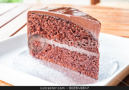 Close up piece of chocolate sponge cake stock photo, Close up piece of chocolate sponge cake by punsayaporn