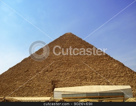 Pyramids of Cheops and Chefre in the desert of Egypt stock photo, Pyramids of Cheops and Chefre in the desert of Egypt by sculler