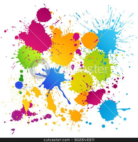 Colorful vector ink blots stock vector clipart, Vector ink blots of different colors on white background by Olga Osipova