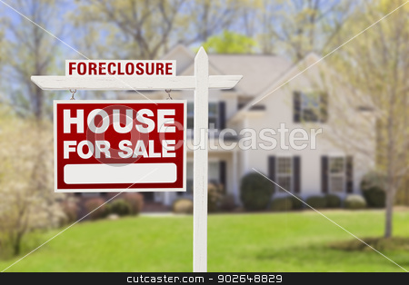 Foreclosure Home For Sale Sign in Front of House stock photo, Red Foreclosure Home For Sale Real Estate Sign in Front of House. by Andy Dean
