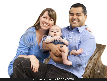 Mixed Race Young Family on White stock photo, Happy Attractive Mixed Race Young Family Isolated on White. by Andy Dean
