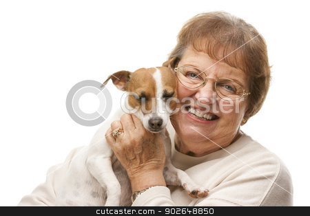Happy Attractive Senior Woman with Puppy stock photo, Happy Attractive Senior Woman with Puppy Isolated on a White Background. by Andy Dean