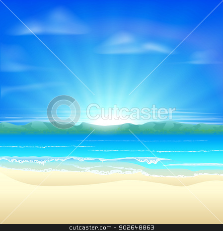 Summer sand beach background stock vector clipart, Summer sand beach background illustration of a beautiful beach at sunrise by Christos Georghiou
