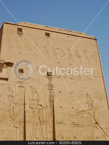 Edfu temple, Egypt stock photo, Horus god and Hathor godness carving on the first pylon at Edfu temple, Egypt by boonsom