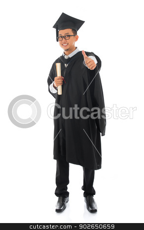 Asian male university student in graduation gown thumb up  stock photo, Full body Asian male university student in graduation gown thumb up isolated on white background by szefei