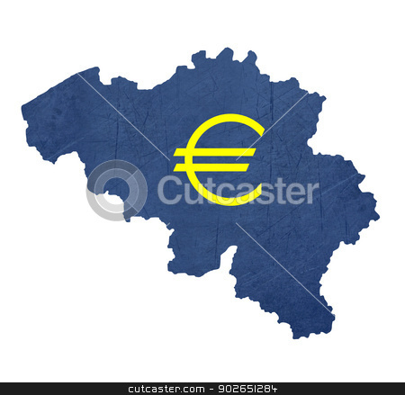 European currency symbol on map of Belgium stock photo, European currency symbol on map of Belgium isolated on white background. by Martin Crowdy