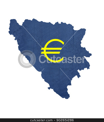 European currency symbol on map of Bosnia and Herzegovina stock photo, European currency symbol on map of Bosnia and Herzegovina isolated on white background. by Martin Crowdy